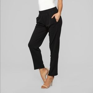 Red slouch high rise pants